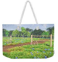 Weekender Tote Bag featuring the digital art Field Of Bluebonnets by Jayne Wilson
