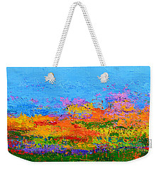 Abstract Field Of Wildflowers, Modern Art Palette Knife Weekender Tote Bag