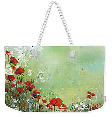 Weekender Tote Bag featuring the painting Field Of Imagination by Laura Lee Zanghetti