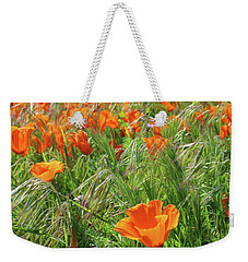 Weekender Tote Bag featuring the mixed media Field Of Orange Poppies- Art By Linda Woods by Linda Woods