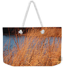 Weekender Tote Bag featuring the photograph Amber Brush On The River by Melinda Blackman
