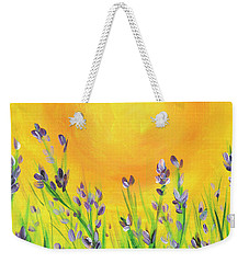 Weekender Tote Bag featuring the painting Field Sunset by Val Miller