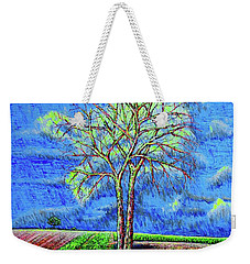 Weekender Tote Bag featuring the painting Field.tree by Viktor Lazarev