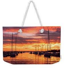 Fiery Lake Norman Sunset Weekender Tote Bag by Serge Skiba
