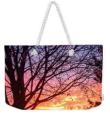 Weekender Tote Bag featuring the photograph Fiery Morning Sunrise by Lars Lentz