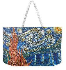 Fiery Night Weekender Tote Bag