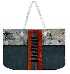 Fiery Red And Indigo One Of Two Weekender Tote Bag by Carol Leigh