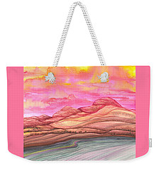 Weekender Tote Bag featuring the painting Fiery Sky by Adria Trail