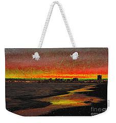 Weekender Tote Bag featuring the digital art Fiery Sunset by Mariola Bitner