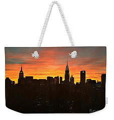 Fiery Sunset New York With Chrysler And Empire State Buildings Weekender Tote Bag