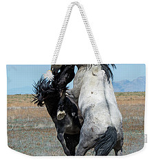 Fighting Black And Gray Stallions Weekender Tote Bag by Mary Hone
