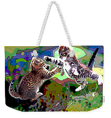 Fighting Cats Weekender Tote Bag by Charles Shoup