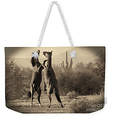 Weekender Tote Bag featuring the photograph Fighting Stallions by Frank Stallone