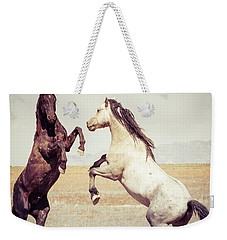 Fighting Stallions Weekender Tote Bag by Mary Hone