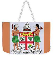 Weekender Tote Bag featuring the drawing Fiji Coat Of Arms by Movie Poster Prints