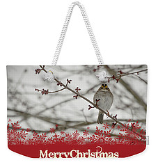 Weekender Tote Bag featuring the mixed media Finch Christmas by Trish Tritz