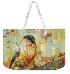 Weekender Tote Bag featuring the mixed media Finch Tapestry by Carrie Joy Byrnes