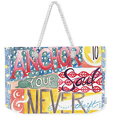 Weekender Tote Bag featuring the painting Find Your Anchor by Erin Fickert-Rowland