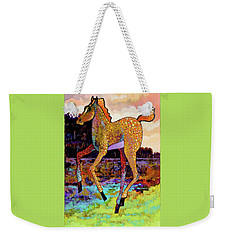 Weekender Tote Bag featuring the painting Finding His Legs by Bob Coonts