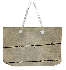 Fine Art Photograph Barbed Wire Over Vintage News Print Breaking Out  Weekender Tote Bag