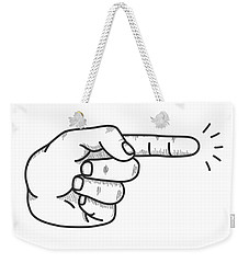 Weekender Tote Bag featuring the digital art Fingered by ReInVintaged