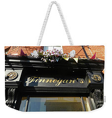 Weekender Tote Bag featuring the photograph Finnegan's Sign/ Bono's Pub by Melinda Saminski