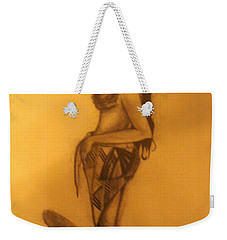 Weekender Tote Bag featuring the drawing Fi'on-hu by Michelle Dallocchio