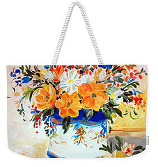 Weekender Tote Bag featuring the painting Fiori Gialli Natura Morta by Roberto Gagliardi