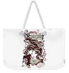 Weekender Tote Bag featuring the digital art Fire And Ice by Christopher Meade