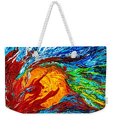 Fire And Ice Elementals - Impasto Abstract Weekender Tote Bag