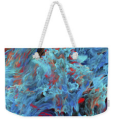 Weekender Tote Bag featuring the digital art Fire And Water Abstract by Andee Design