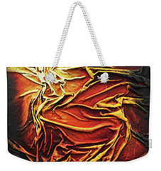 Weekender Tote Bag featuring the mixed media Fire by Angela Stout
