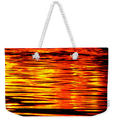 Fire At Night On The Water Weekender Tote Bag
