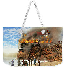 Weekender Tote Bag featuring the photograph Fire - Cliffside Fire 1907 by Mike Savad