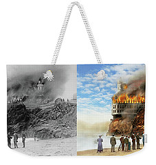 Weekender Tote Bag featuring the photograph Fire - Cliffside Fire 1907 - Side By Side by Mike Savad