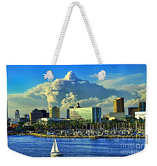 Weekender Tote Bag featuring the photograph Fire Cloud Over Long Beach by Mariola Bitner