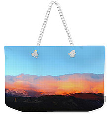 Weekender Tote Bag featuring the photograph Fire Clouds - Panorama by Shane Bechler