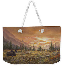 Weekender Tote Bag featuring the painting Fire In The Sky by Kim Lockman