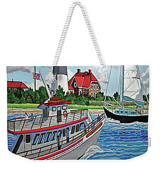 Fire Island Lighthouse And Boats In The Great South Bay Towel Version Weekender Tote Bag