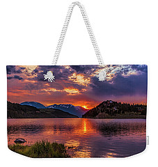 Fire On The Water Reflections Weekender Tote Bag