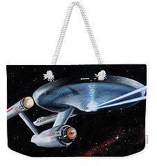 Weekender Tote Bag featuring the painting Fire Phasers by Kim Lockman
