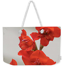 Fire Red Gladiolas Weekender Tote Bag by Angie Vogel