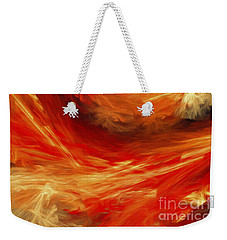 Weekender Tote Bag featuring the digital art Fire Storm Abstract by Andee Design