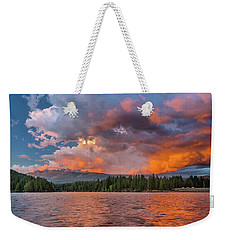 Fire Sunset Over Shasta Weekender Tote Bag