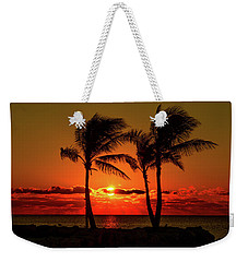 Fire Sunset Through Palms Weekender Tote Bag