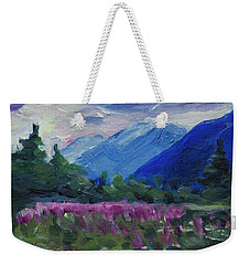 Weekender Tote Bag featuring the painting Fireweed At Outer Point Alaska by Yulia Kazansky