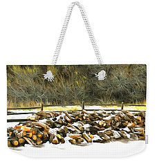 Weekender Tote Bag featuring the photograph  Floyd Snyder by Firewood in the Snow at Fort Tejon