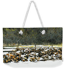 Weekender Tote Bag featuring the photograph Firewood In The Snow At Fort Tejon by Floyd Snyder