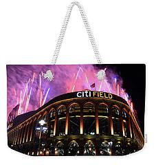 Fireworks Night At Citifield Weekender Tote Bag by James Kirkikis