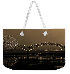 Fireworks Over The Mississippi Weekender Tote Bag